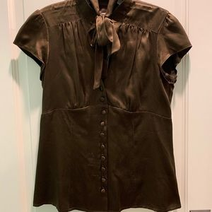 Nanette Lepore chocolate brown silk blouse 4